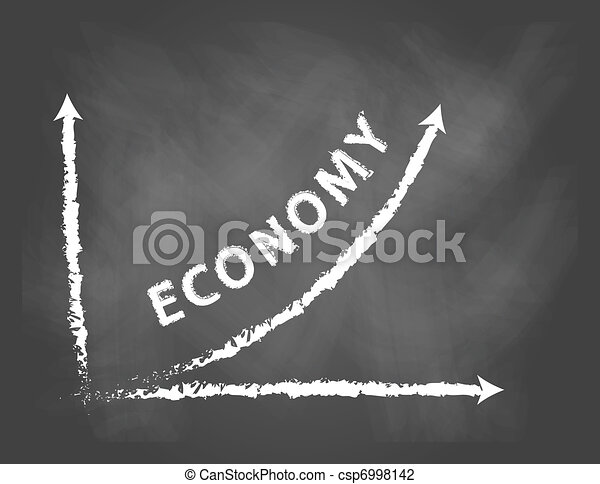 chalkboard with graph and text of economy in positive direction - csp6998142