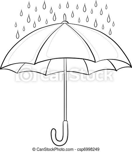 Umbrella and rain, contours - csp6998249