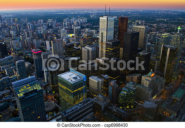 Toronto cityscape at dusk - csp6998430
