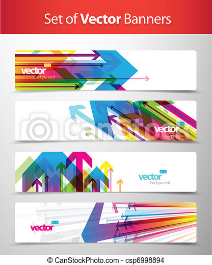 Set of abstract colorful web headers. - csp6998894