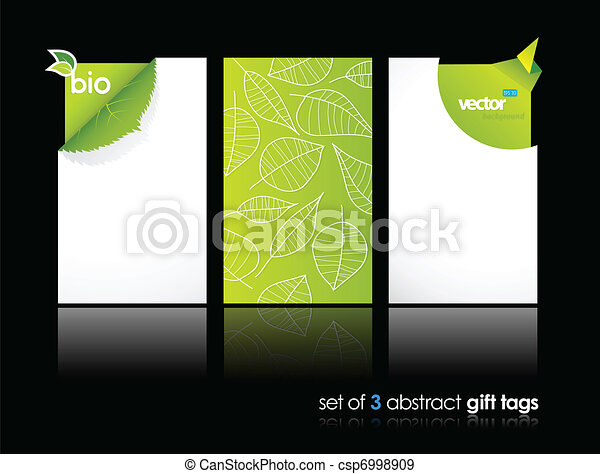 Set of nature gift cards with reflection. - csp6998909