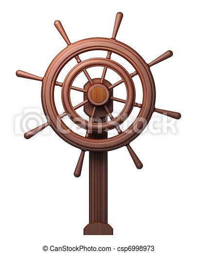 Drewniany, koło sterowe, biały - csp6998973