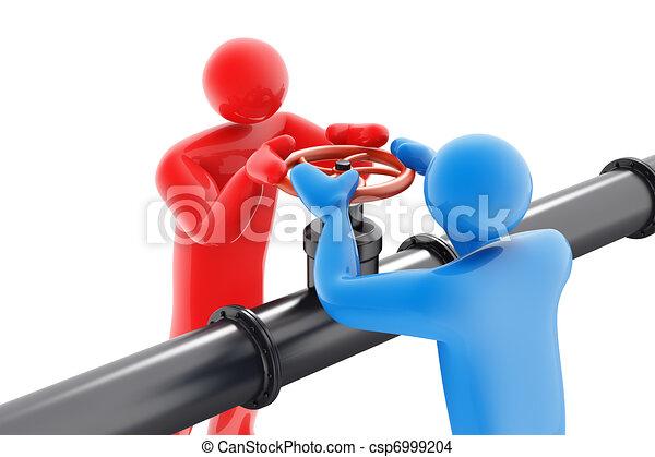 válvula, pessoas, dois, óleo, torcendo - csp6999204