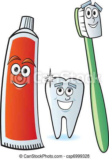 Vector de dental, caricatura, caracteres - Un, caricatura, cepillo de ...
