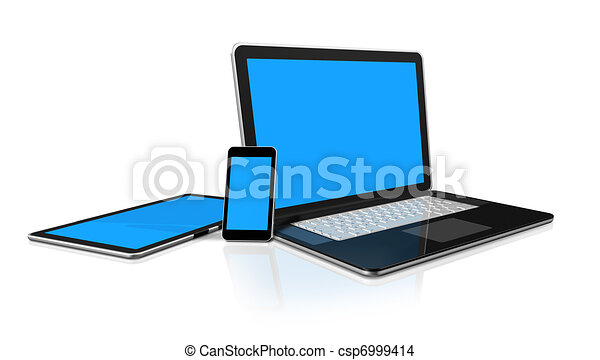 laptop, mobile phone and digital tablet pc computer - csp6999414
