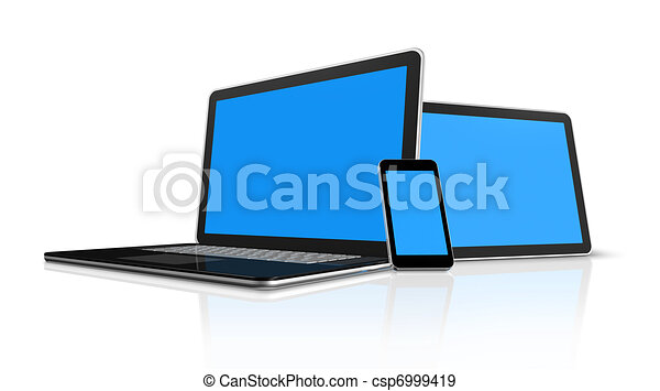laptop, mobile phone and digital tablet pc computer - csp6999419