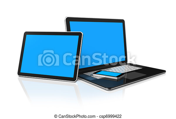 laptop, mobile phone and digital tablet pc computer - csp6999422