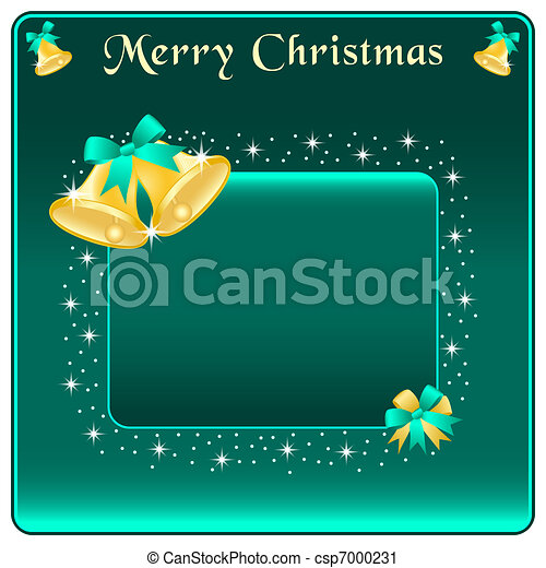 Christmas bells gold and bow - csp7000231