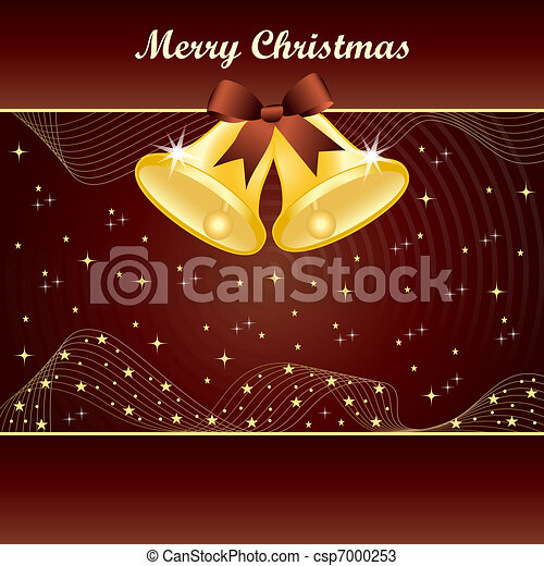 Gold christmas bells on brown - csp7000253