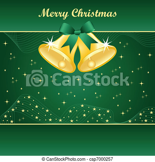 Gold christmas bells on green - csp7000257