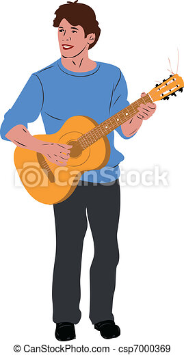 the guy in the blue sweater on guitar - csp7000369