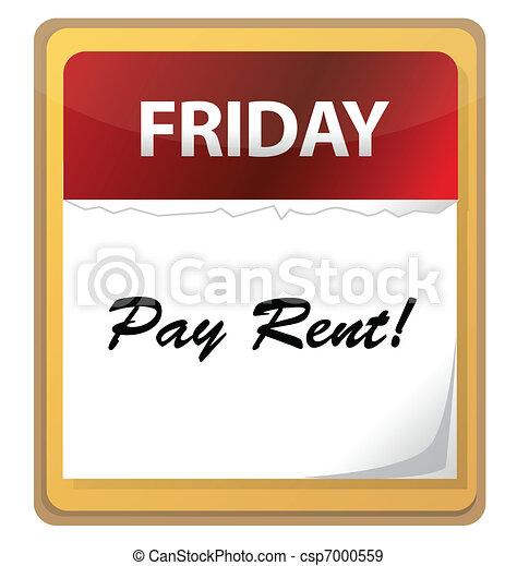 Calendar mark with Pay rent  - csp7000559