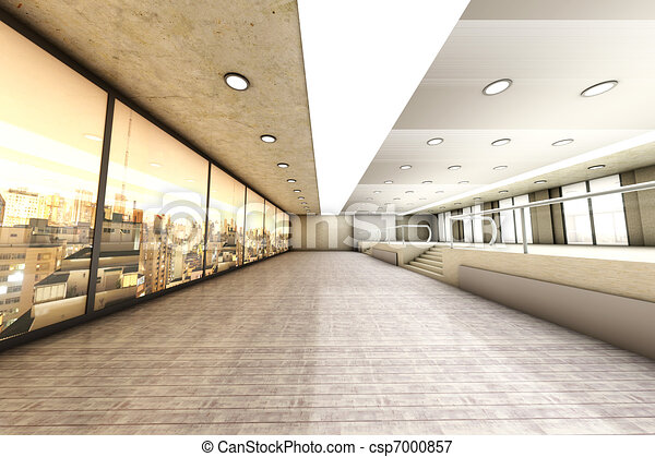 A empty office with the Skyline of Sao Paulo, Brazil, in the Background. Architectural visualisation. 3D rendered Illustration. - csp7000857