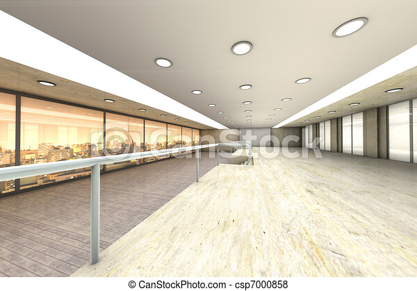 A empty office with the Skyline of Sao Paulo, Brazil, in the Background. Architectural visualisation. 3D rendered Illustration. - csp7000858