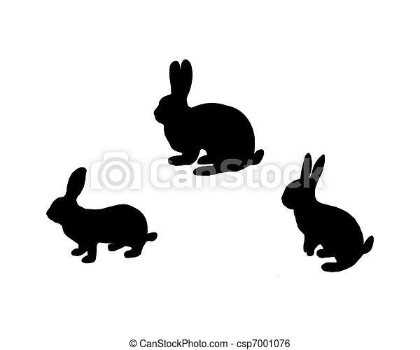 Black silhouette of three bunnys on white - csp7001076