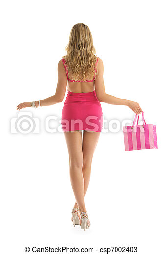 beautiful woman with rosy shopping bags - csp7002403