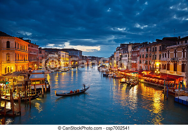 canal, Venecia, noche, magnífico - csp7002541