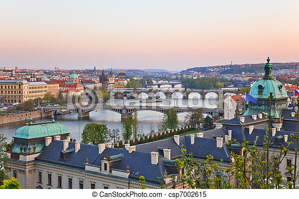 Prague Bridges after sunset - csp7002615