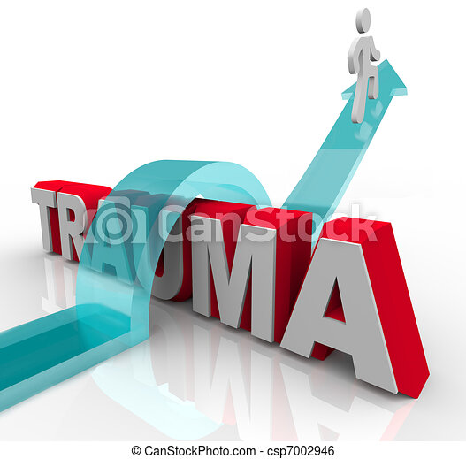 A person jumps over the word Trauma on an arrow, symbolizing the positive effects of theraphy and rehabilitation as well as a good attitude - csp7002946