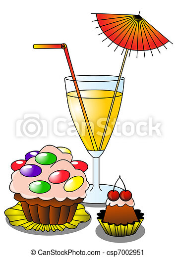 cocktail with umbrella and fruit cake - csp7002951
