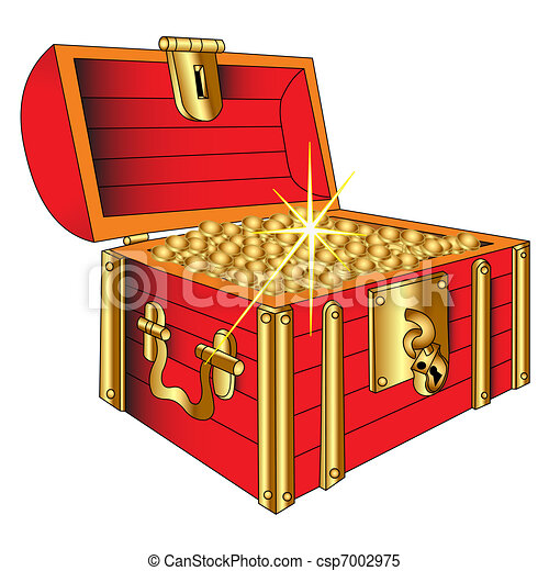 Coffer with gold shining coin - csp7002975
