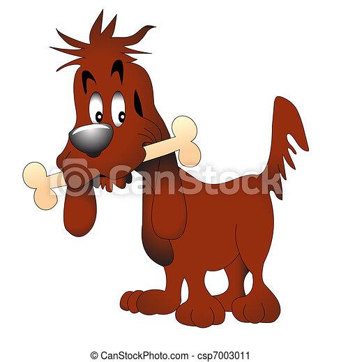 illustration amusing dog keeping bone - csp7003011