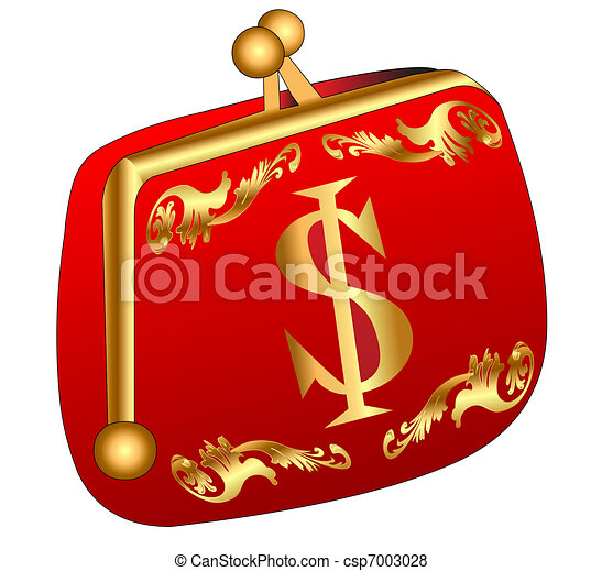 red purse with gold(en) dollar - csp7003028