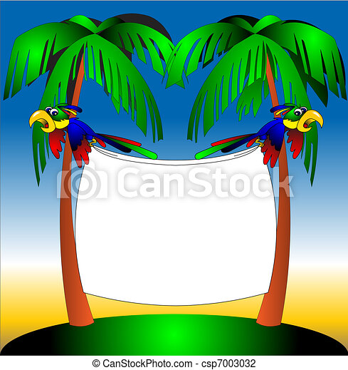 two parrots on background of the palm - csp7003032