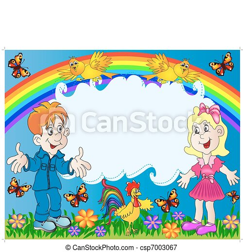 lucky children on background of the rainbow - csp7003067