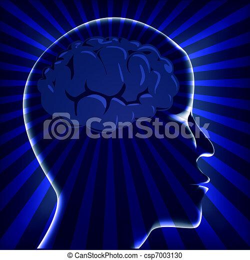 illustration brain human with ray on turn - csp7003130
