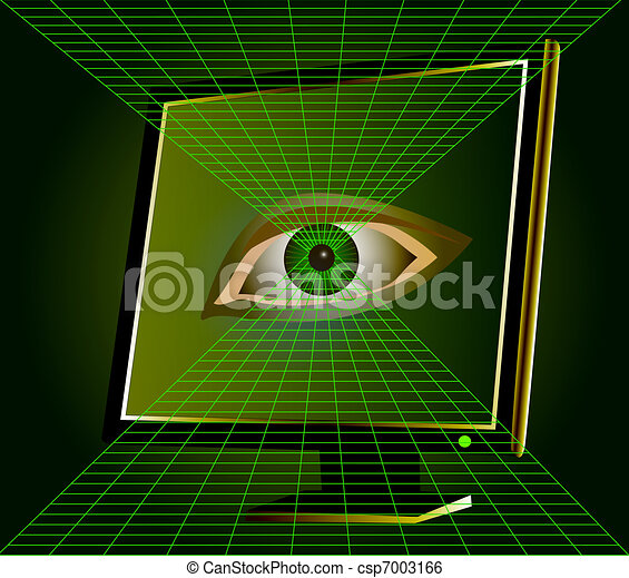 eye watches from monitor of the computer - csp7003166