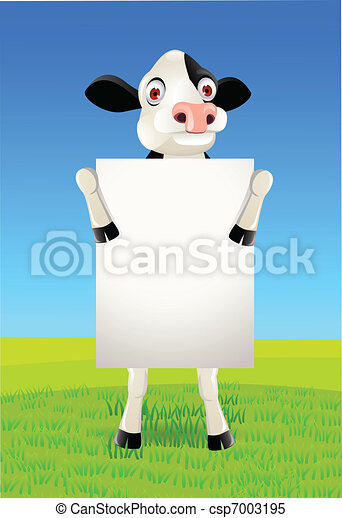 cow and blank sign - csp7003195
