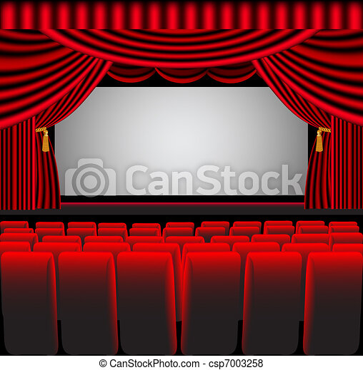 premises theatre with screen and chair - csp7003258