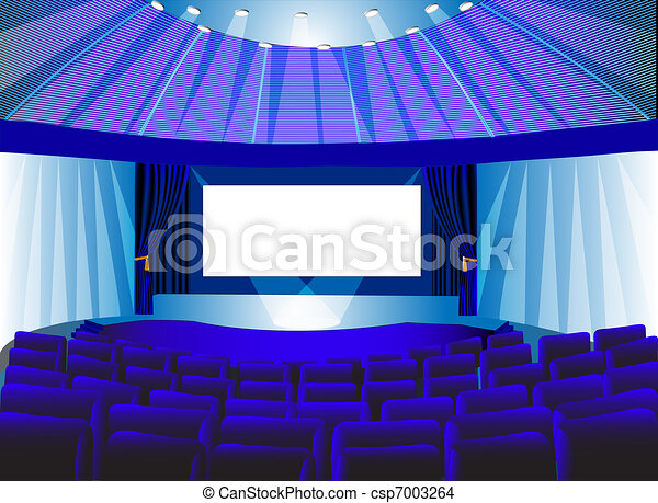 premises blue theater with screen - csp7003264