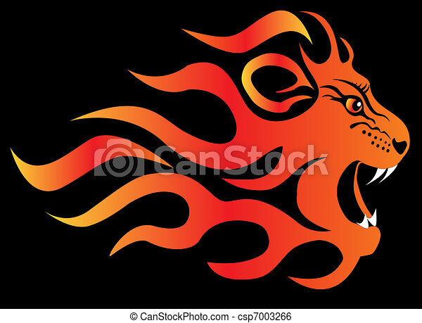 infuriated lion in fire on black - csp7003266
