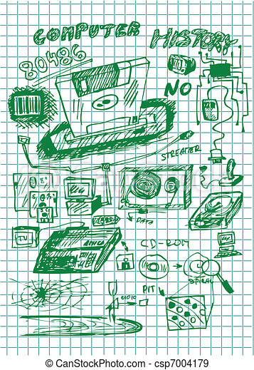 set of old computer backup technology - csp7004179