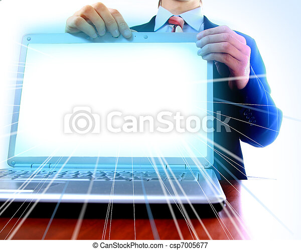 laptop with a blank screen useful for composition - csp7005677