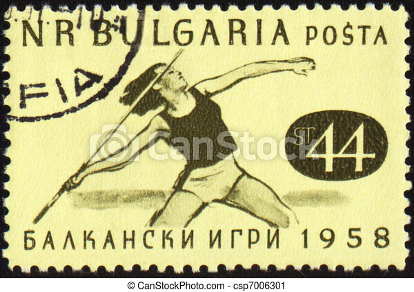 Javelin throwing on post stamp - csp7006301
