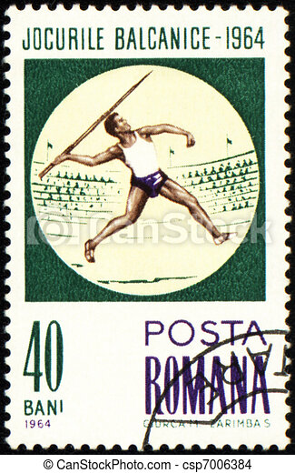 Javelin throwing on post stamp - csp7006384