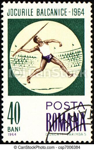 Javelin throwing on post stamp - csp7006384