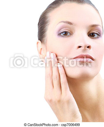 Portrait of young adult woman with health skin of face   - csp7006499