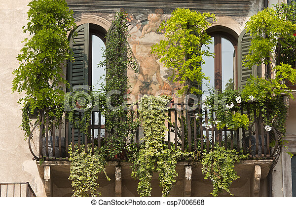 Verona (Veneto, Italy), Piazza Erbe, historic house with frescos and plants - csp7006568