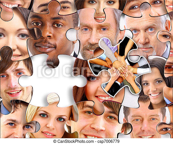abstract puzzle background with one piece missing  - csp7006779