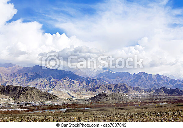 City in the valley of Ladakh Himalayas - csp7007043