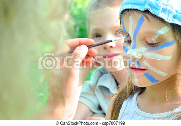 face mask cjild carnival painting - csp7007199