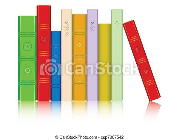 Bücherreihe clipart  Vektor Illustration von buecher, reflektiert, reihe - buecher ...