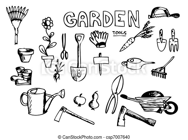 hand drawn garden tools - csp7007640