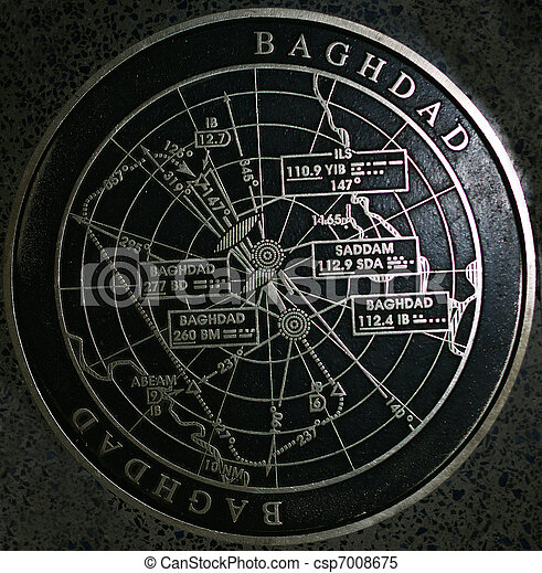 Old Baghdad airport approach marker Iraq Saddam - csp7008675
