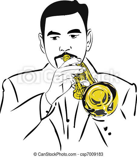 male musician playing the copper pipe - csp7009183