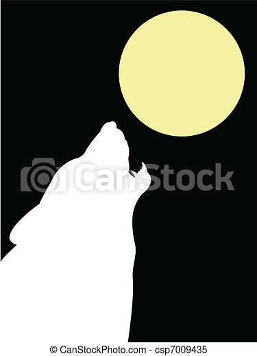 Wolf and moon - csp7009435